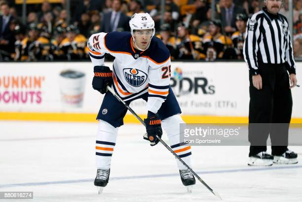 Edmonton Oilers defenseman Darnell Nurse eyes a face off during a game between the Boston Bruins and the Edmonton Oilers on November 26 at TD Garden...