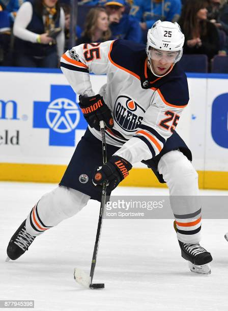 Edmonton Oilers defenseman Darnell Nurse gets ready to pass the puck during a NHL hockey game between the Edmonton Oilers and the St Louis Blues on...