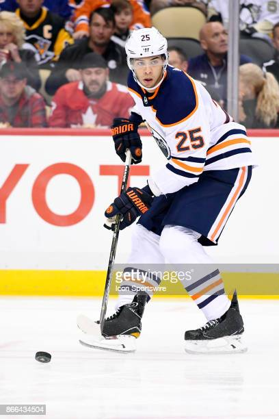Edmonton Oilers Defenseman Darnell Nurse handles the puck during the second period in the NHL game between the Pittsburgh Penguins and the Edmonton...