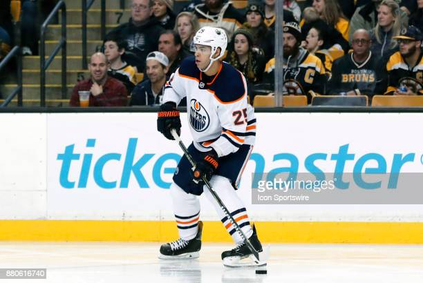 Edmonton Oilers defenseman Darnell Nurse holds the puck during a game between the Boston Bruins and the Edmonton Oilers on November 26 at TD Garden...