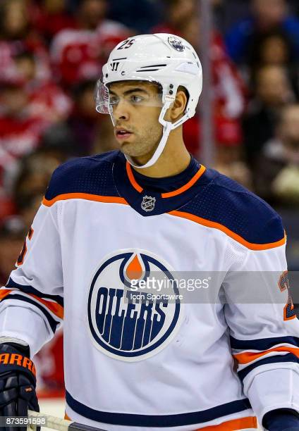 Edmonton Oilers defenseman Darnell Nurse in the faceoff circle during a NHL game between the Washington Capitals and the Edmonton Oilers on November...