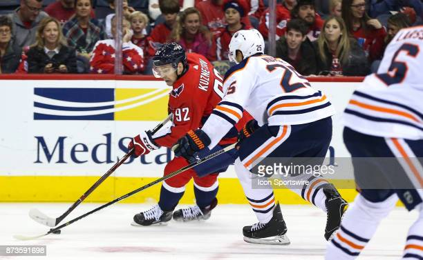 Edmonton Oilers defenseman Darnell Nurse moves in on Washington Capitals center Evgeny Kuznetsov during a NHL game between the Washington Capitals...