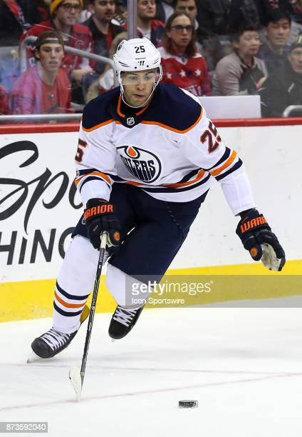 Edmonton Oilers defenseman Darnell Nurse moves up ice during a NHL game between the Washington Capitals and the Edmonton Oilers on November 12 at...