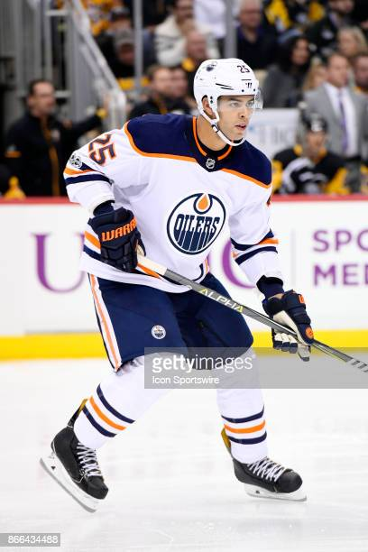 Edmonton Oilers Defenseman Darnell Nurse skates during the second period in the NHL game between the Pittsburgh Penguins and the Edmonton Oilers on...