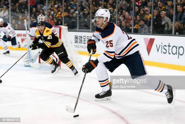 Edmonton Oilers defenseman Darnell Nurse starts up ice during a game between the Boston Bruins and the Edmonton Oilers on November 26 at TD Garden in...