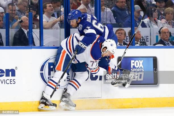 Edmonton Oilers defenseman Oscar Klefbom and Tampa Bay Lightning center Gabriel Dumont in action in the first period of the NHL game between the...