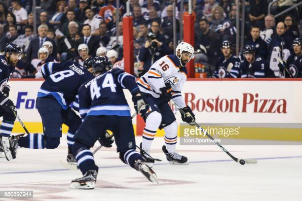 Edmonton Oilers forward Jujhar Khaira takes a shot during the NHL game between the Winnipeg Jets and the Edmonton Oilers on September 20 2017 at the...