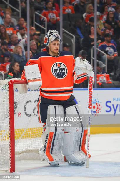 Edmonton Oilers Goalie Laurent Brossoit takes a break during second period the Edmonton Oilers game versus the Carolina Hurricanes at at Rogers Place...