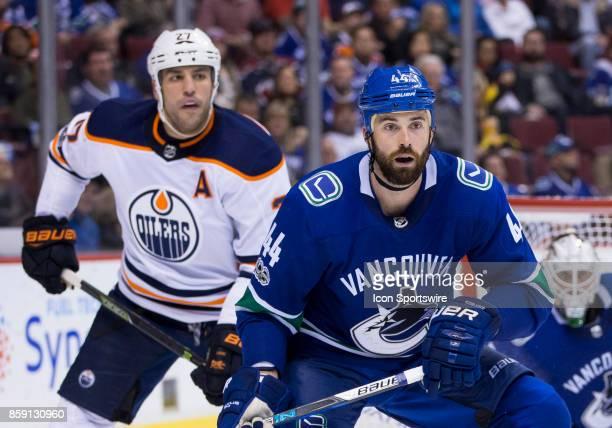 Edmonton Oilers Left Wing Milan Lucic and Vancouver Canucks Defenceman Erik Gudbranson during the Edmonton Oilers game versus the Vancouver Canucks...