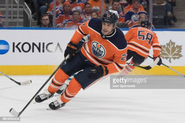 Edmonton Oilers Left Wing Milan Lucic circles in his own zone during a power play in the second period during the Edmonton Oilers game versus the...