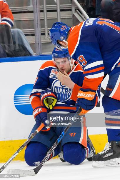Edmonton Oilers Left Wing Patrick Maroon checks on team mate Edmonton Oilers Right Wing Leon Draisaitl after a hard hit on March 7 2017 at Rogers...