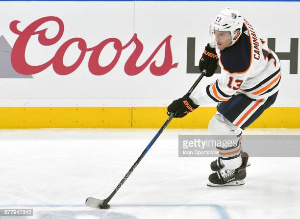 Edmonton Oilers leftwing Michael Cammalleri controls the puck during a NHL hockey game between the Edmonton Oilers and the St Louis Blues on November...