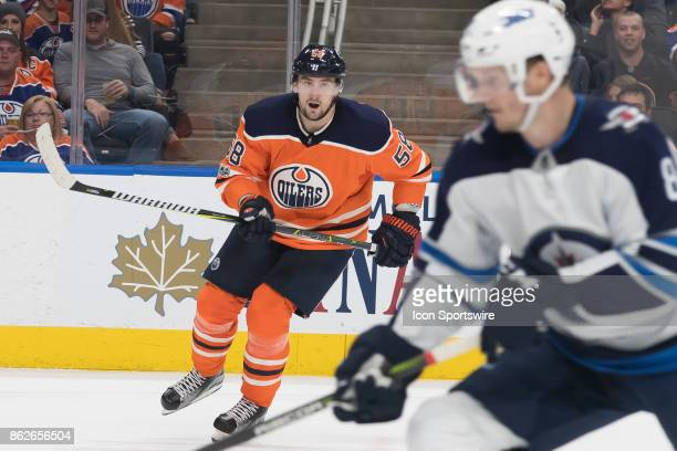 Edmonton Oilers Right Wing Anton Slepyshev in his first game back since injury during the Edmonton Oilers game versus the Winnipeg Jets at Rogers...