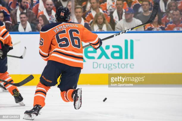 Edmonton Oilers Right Wing Kailer Yamamoto chases a puck during the Edmonton Oilers game versus the Calgary Flames at Rogers Place in Edmonton AB