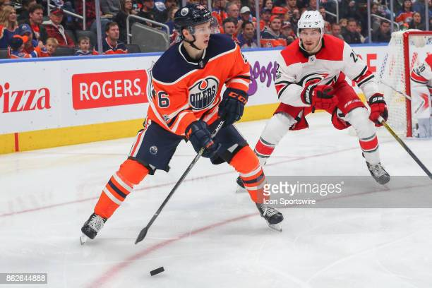 Edmonton Oilers Right Wing Kailer Yamamoto in action during the Edmonton Oilers game versus the Carolina Hurricanes at at Rogers Place on October 09...