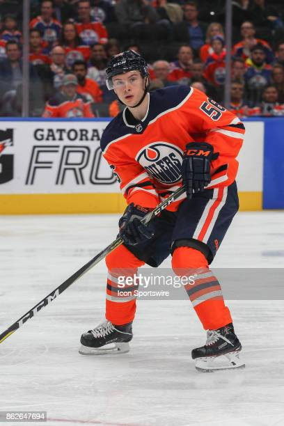 Edmonton Oilers Right Wing Kailer Yamamoto in power play action during the Edmonton Oilers game versus the Carolina Hurricanes at at Rogers Place on...