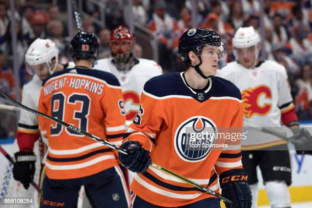 Edmonton Oilers Right Wing Kailer Yamamoto skates away from a scurm during the Edmonton Oilers game versus the Calgary Flames at Rogers Place in...