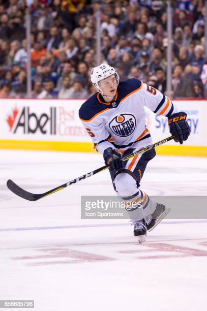 Edmonton Oilers right wing Kailer Yamamoto skates up ice during their NHL preseason game against the Vancouver Canucks at Rogers Arena on September...