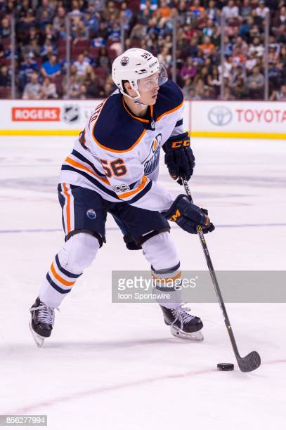 Edmonton Oilers right wing Kailer Yamamoto skates with the puck during their NHL preseason game against the Vancouver Canucks at Rogers Arena on...