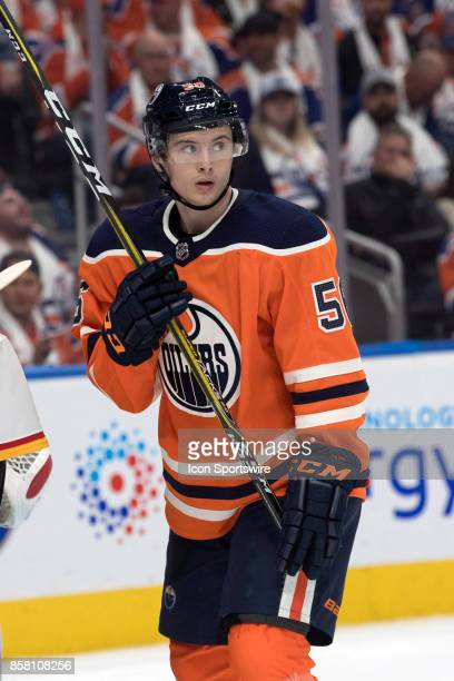 Edmonton Oilers Right Wing Kailer Yamamoto watches the play during the Edmonton Oilers game versus the Calgary Flames at Rogers Place in Edmonton AB