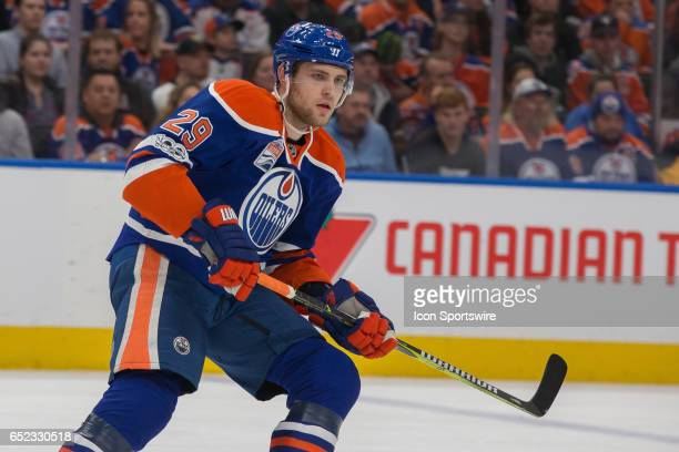 Edmonton Oilers Right Wing Leon Draisaitl on March 10 2017 at Rogers Place in Edmonton AB The Penguins out scored the Oilers 3 to 2