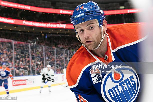 Edmonton Oilers Right Wing Zack Kassian caught in a close up at the game against the Sharks on January 10 at Rogers Place in Edmonton AB The Sharks...