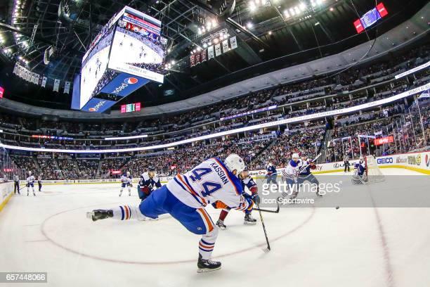 Edmonton Oilers Right Wing Zack Kassian shoots on Colorado Avalanche Goalie Jeremy Smith during the Edmonton Oilers and Colorado Avalanche NHL game...