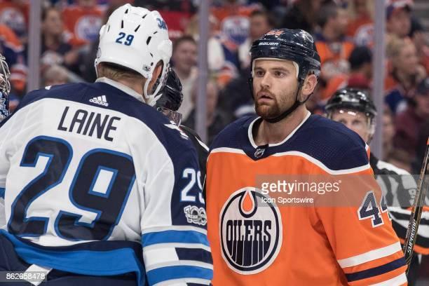 Edmonton Oilers Right Wing Zack Kassian stares down Winnipeg Jets Right Wing Patrik Laine during the Edmonton Oilers game versus the Winnipeg Jets at...
