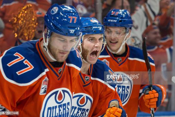Edmonton Oilers Right Wing Zack Kassian yelling in celebration of the game tying goal in the third period by Edmonton Oilers Defenceman Oscar Klefbom...