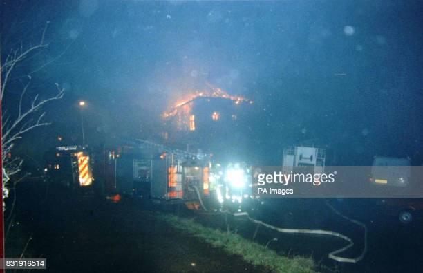 Edmund Carlisle's home Penyrwrlodd at Llanigon near HayonWye during the fire which destroyed it
