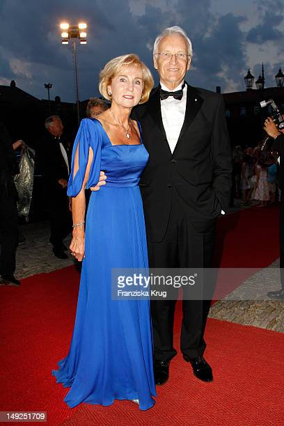 Edmund Stoiber and his wife Karin arrives for the reception of the Bavarian state governor after the Bayreuth festival 2011 premiere on July 25 2012...
