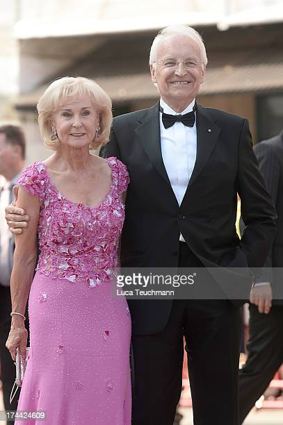 Edmund Stoiber and wife Karin attend the Bayreuth Festival opening on July 25 2013 in Bayreuth Germany