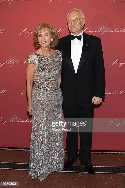 Edmund Stoiber and wife Karin attend the Semper Opera Ball on January 15 2010 in Dresden Germany