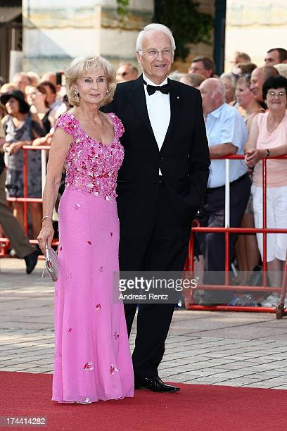 Edmund Stoiber and wife Karin Stoiber attend the Bayreuth Festival opening on July 25 2013 in Bayreuth Germany