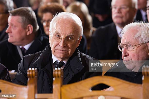 Edmund Stoiber attends the state funeral of the late former German President Roman Herzog at the Dom Cathedral on January 24 2017 in Berlin Roman...