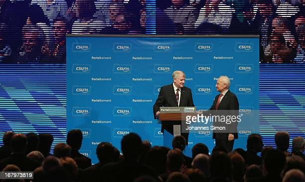 Edmund Stoiber former Governor of Bavaria congratulates Horst Seehofer Governor of Bavaria and Chairman of the Bavarian Christian Democrats at the...