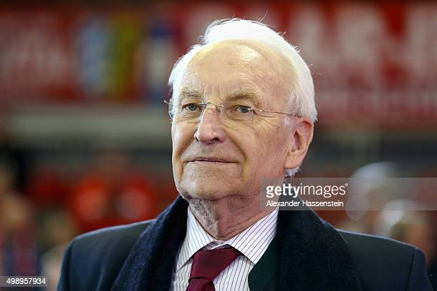 Edmund Stoiber former Prime Minister of Bavaria and member of the FC Bayern Muenchen Board arrives for the FC Bayern Muenchen annual general meeting...