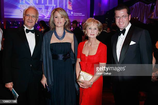 Edmund Stoiber Stephanie zu Guttenberg Karin Stoiber and German Defense Minister KarlTheodor zu Guttenberg attend the Sportpresseball 2010 at Alte...