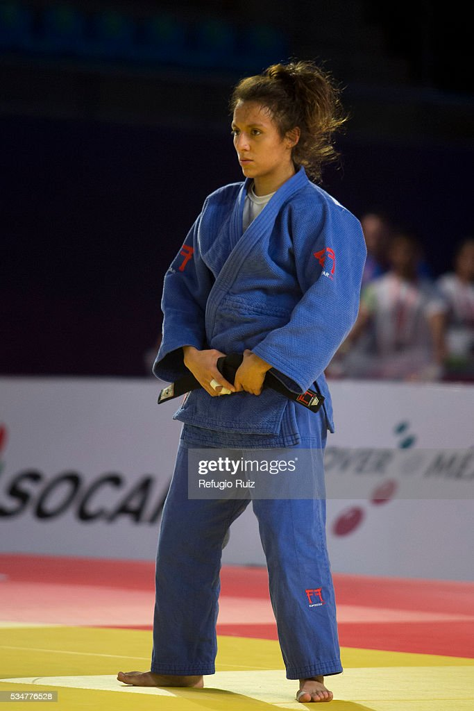 Edna Carrillo (Blue) of Mexico looks on during the women's -48kg fight between Edna Carrillo (MEX) and Sarah Menezes (BRA) as part of the World Judo Masters Guadalajara 2016 at Adolfo Lopez Mateos Sports Centre on May 27, 2016 in Gudalajara, Mexico.
