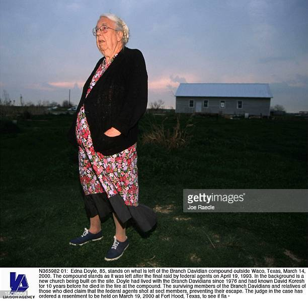 Edna Doyle stands on what is left of the Branch Davidian compound outside Waco Texas March 14 2000 The compound stands as it was left after the final...