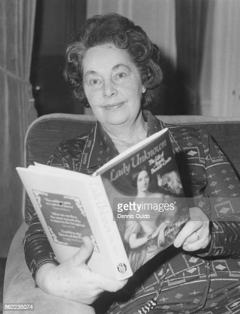 Edna Healey the wife of Denis Healey Chancellor of the Exchequer at Number 11 Downing Street London with her book 'Lady Unknown the Life of Angela...