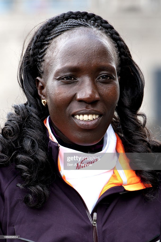 Edna Kiplagat attends the photocall for International Women photocall ahead of The the London Marathon at The Tower Hotel on April 18, 2013 in London, England.