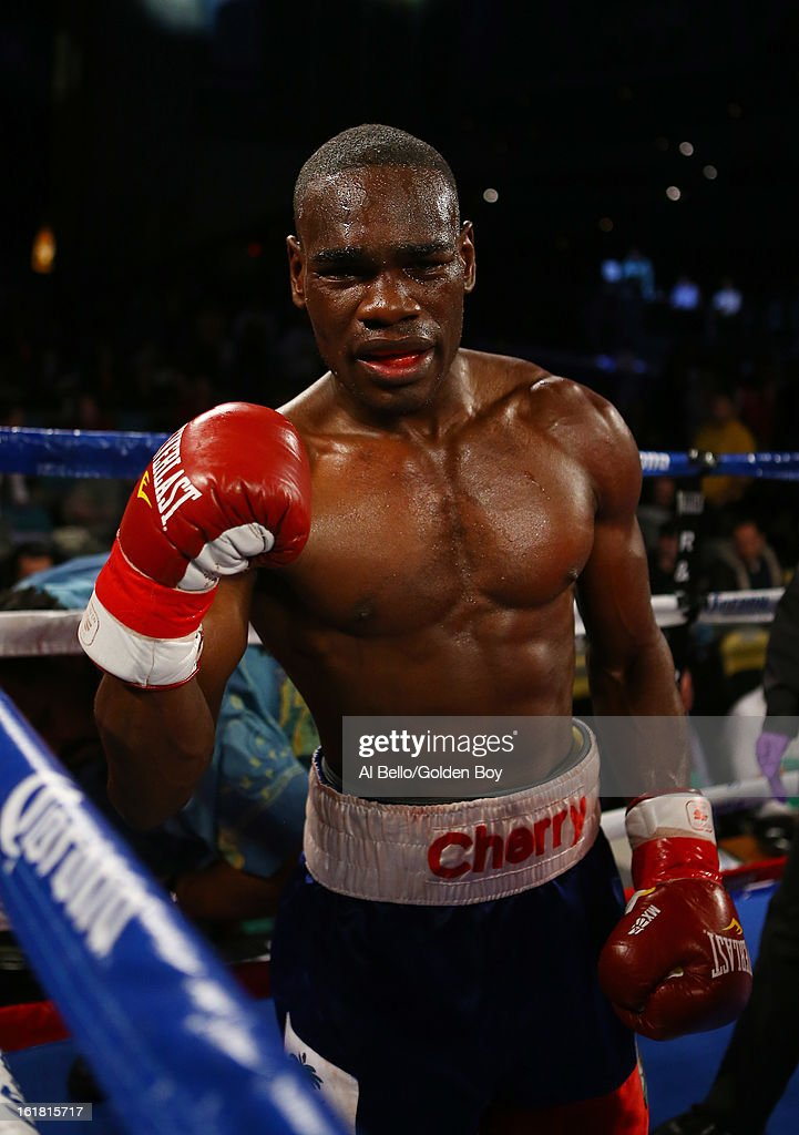 Edner Cherry celebrates his sixth round knockout against Vicente Escobedo after their Junior Lightweight fight at Atlantic City Boardwalk Hall on February 16, 2013 in Atlantic City, New Jersey.