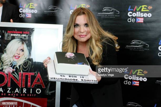 Ednita Nazario is honored for celebrating 15 years of performing at the venue of Coliseo Jose M Agrelot on May 13 2017 in San Juan Puerto Rico