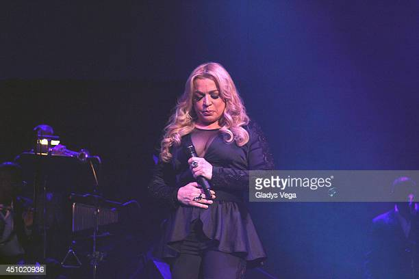 Ednita Nazario performs in 'Dos Soneros Cantan A Cheo Feliciano' Concert at Coliseo Jose M Agrelot on June 21 2014 in San Juan Puerto Rico