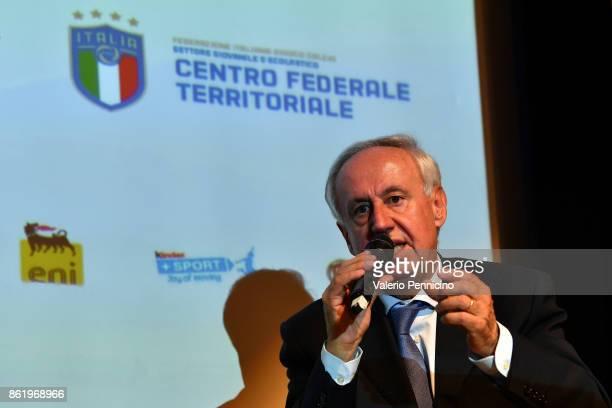Edo Milanesio attends during the Italian Football Federation Unveils New Regional Federal Training Center In Alba at Auditorium Fondazione Ferrero on...