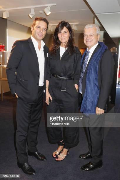 Edoardo Caovilla EditorinChief of Vogue Paris Emmanuelle Alt and Rene Caovilla attend the Rene Caovilla presentation during Milan Fashion Week...