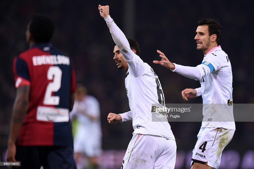 Edoardo Goldaniga of Palermo celebrates after scoring his team's second goal (3-2) during the Serie A match between Genoa CFC and US Citta di Palermo at Stadio Luigi Ferraris on December 18, 2016 in Genoa, Italy.