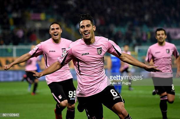 Edoardo Goldaniga of Palermo celebrates after scoring the opening goal during the Serie A match between US Citta di Palermo v Frosinone Calcio at...