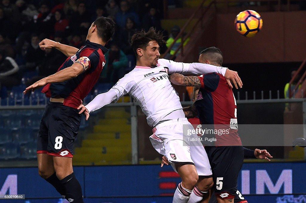 Edoardo Goldaniga of Palermo scores his team's second goal (3-2) during the Serie A match between Genoa CFC and US Citta di Palermo at Stadio Luigi Ferraris on December 18, 2016 in Genoa, Italy.